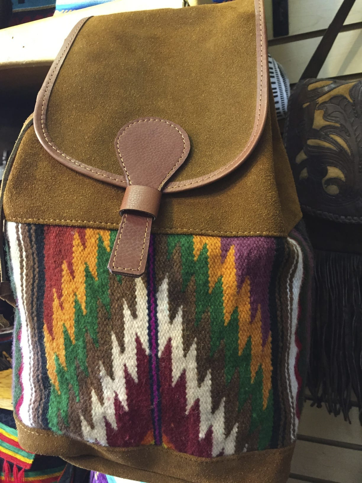 Leather Amp Wool Tapestry Backpack Native American World