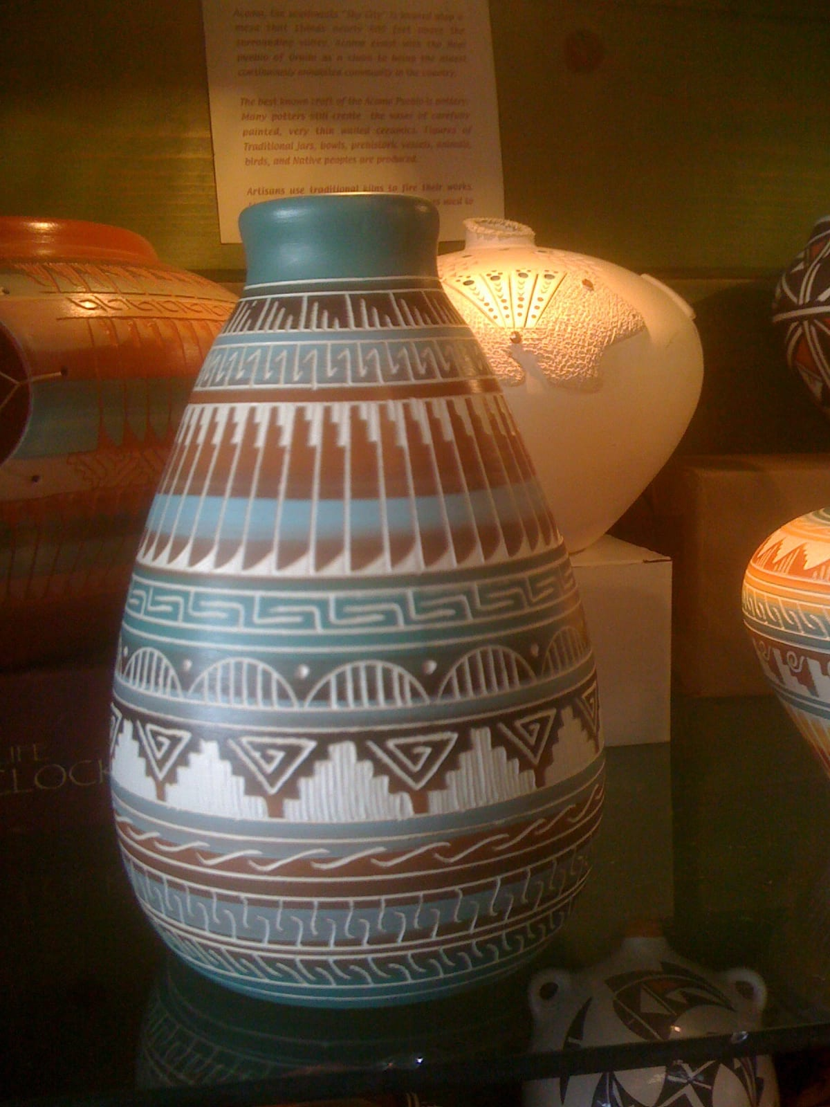 Navajo Ceramics Horse Hair Wedding Vase Etched Native American World